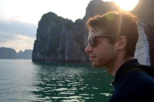 Eliot overlooking the Halong Bay sunset